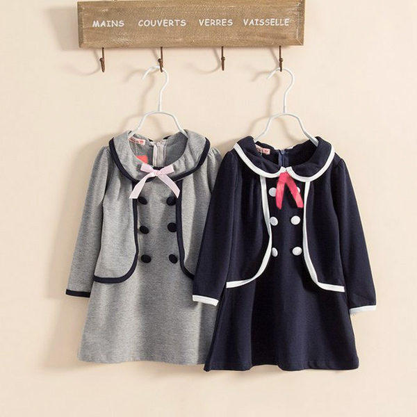 Baby Girls Skirt Double-breasted Collar Party Dress