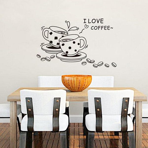 Coffee Restaurant Wall Sticker 3D Home Decration Art Wallpaper diy coffee cup wall sticker clock home decoration coffee black red green