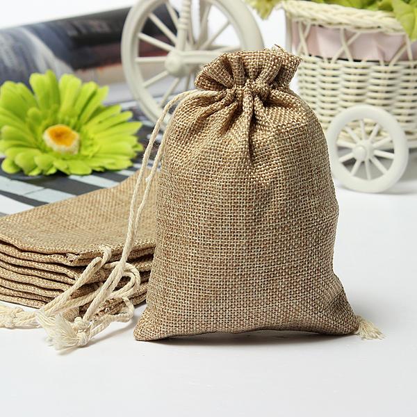 Wholesale Faux Burlap Hessian Mini Bags Rustic Wedding Favor Gift Bag