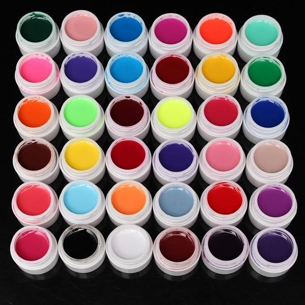 36 Pure Colors 5ml UV Gel Builder Nail Art DIY Decoration Manicure 100pcs full cover self adhesive polish foils nail art stickers decals diy manicure beauty nail wraps decoration wholesale