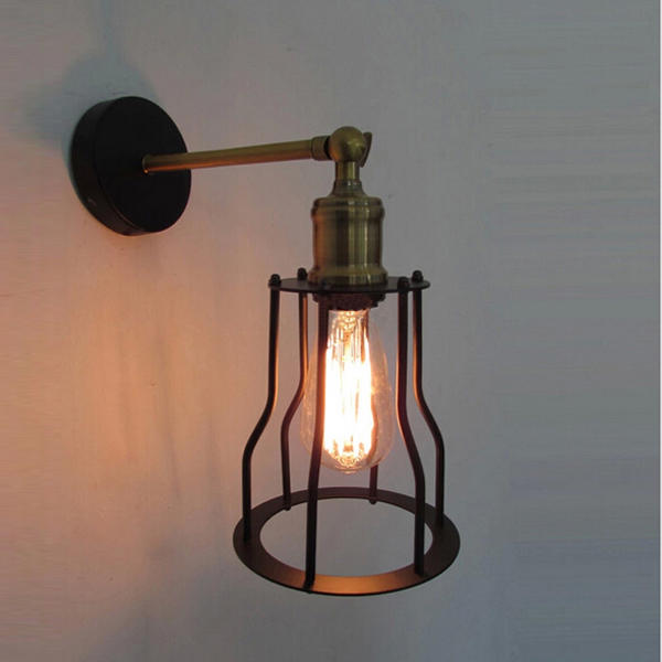 Antique Wrought Iron Wall Light Edison Type Loft Wall Lamp