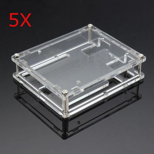 5Pcs Transparent Acrylic Shell Box For Arduino UNO R3 Module Board acrylic case enclosure box for arduino uno r3