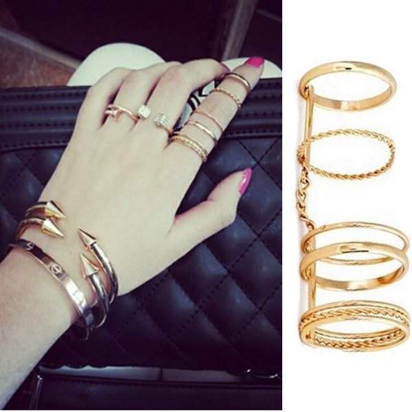 5Pcs Gold Plated Punk Metal Chain Joint Finger Knuckle Rings Set gold plated banana plug jack connector set golden 3 5mm 10 pairs