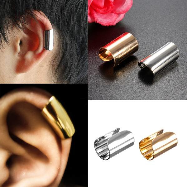 1pc Punk U Shape Wrap Earring Clip Ear Cuff Gold Silver Plated punk rhinestone skull ear cuff