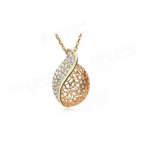 Gold Silver Rhinestone Hollow Leaf Pendant Necklace For Women 1 pcs wireless signal finder anti spy full range rf camera detector protable gsm sensor mini hidden camera use in hotel