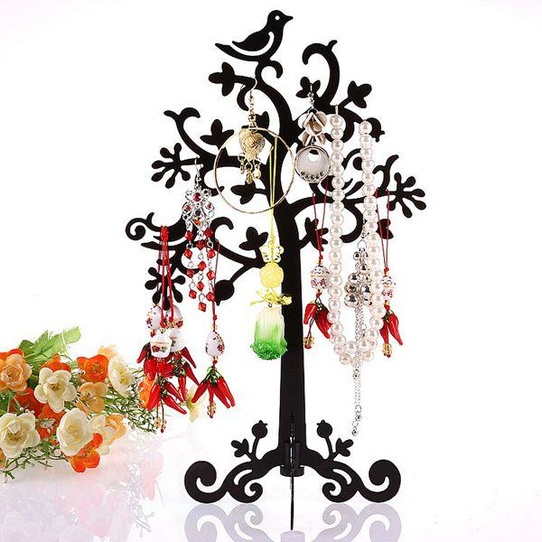 Metal Tree Bird Earring Bracelet Necklace Ring Jewelry Display Stand Holder metal ring holder for smartphones silver