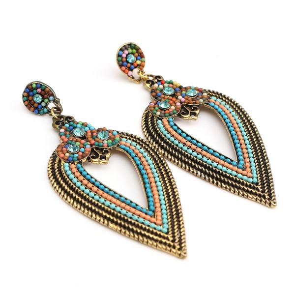Bohemia Hollow Rhinestone Beads Water Drop Earrings For Women hollow water drop shaped drop earrings