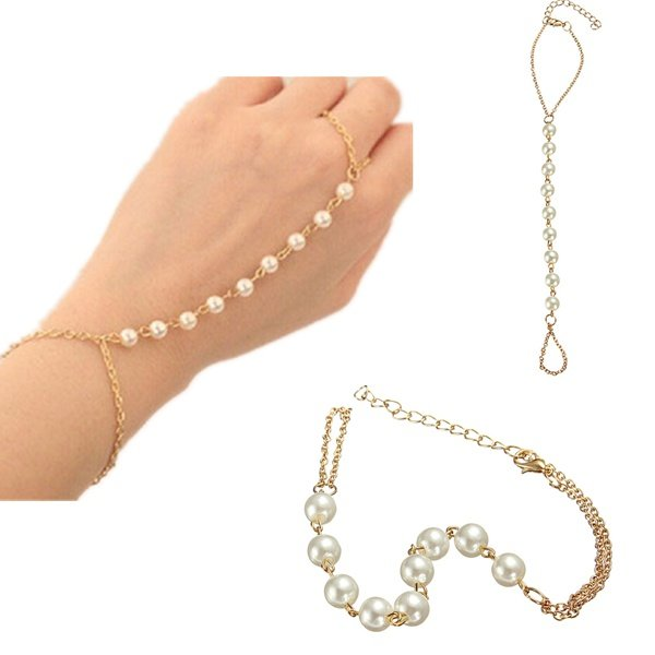 купить Gold Plated Pearl Ring Bracelet Beads Metal Chain For Women недорого