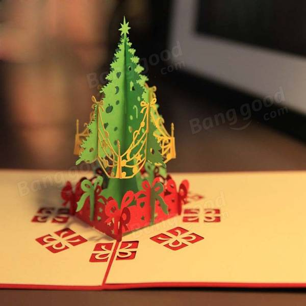 Merry Christmas Tree 3D Card Laser