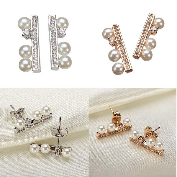 Simple Rhinestone Crystal Pearl Ear Stud