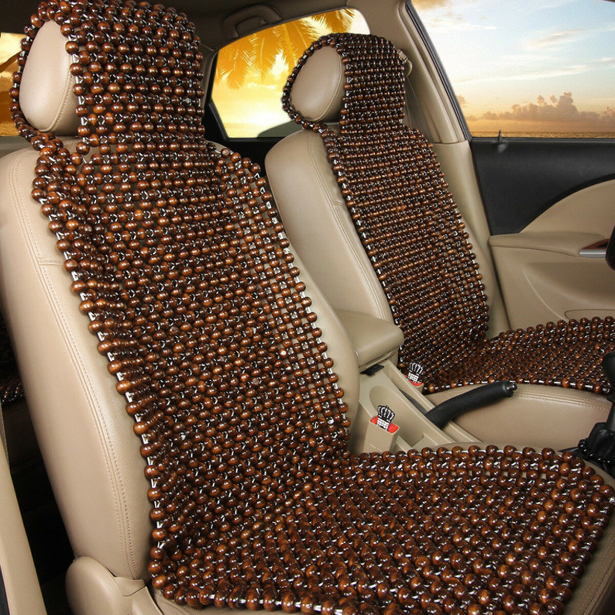 Natural Wood Wooden Beaded Seat Cover