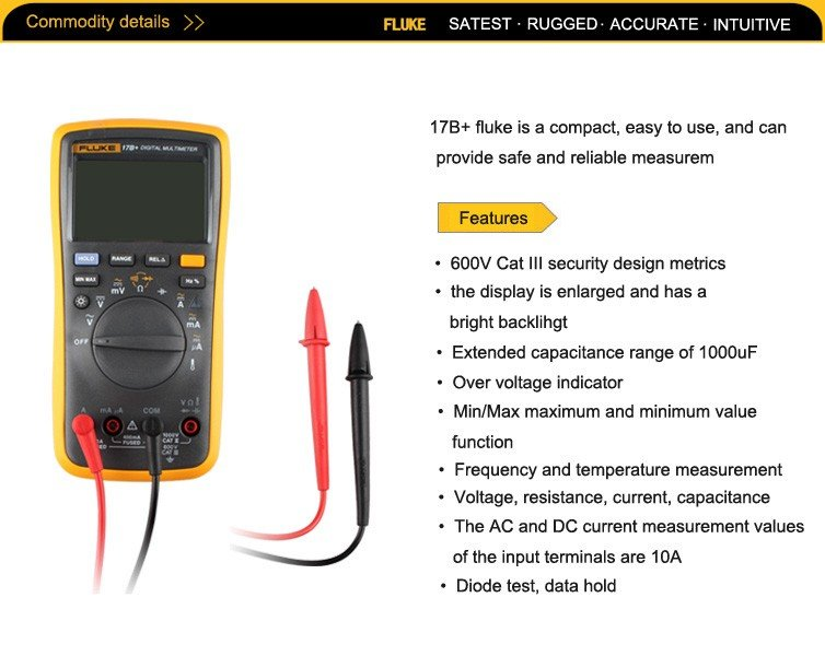 Fluke 17B+ F17B+ Professional Digital Multimeter Measuring Tool