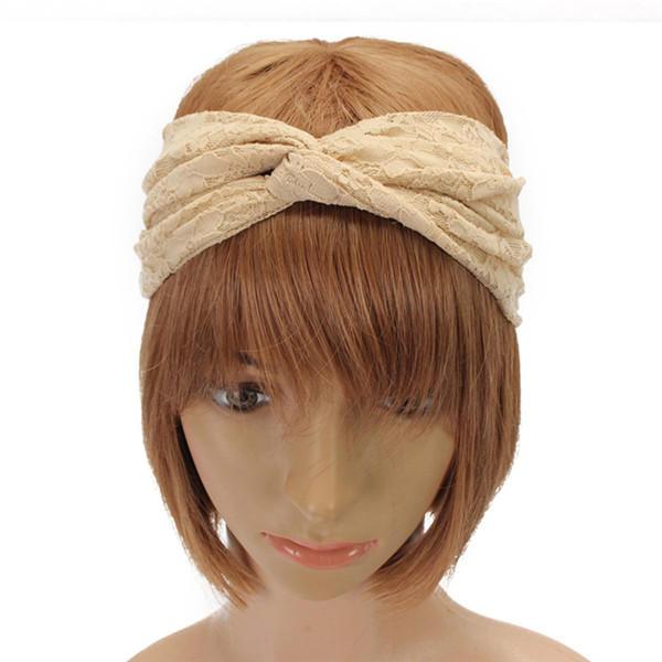 Women Lace Flowers Headband Head Knot