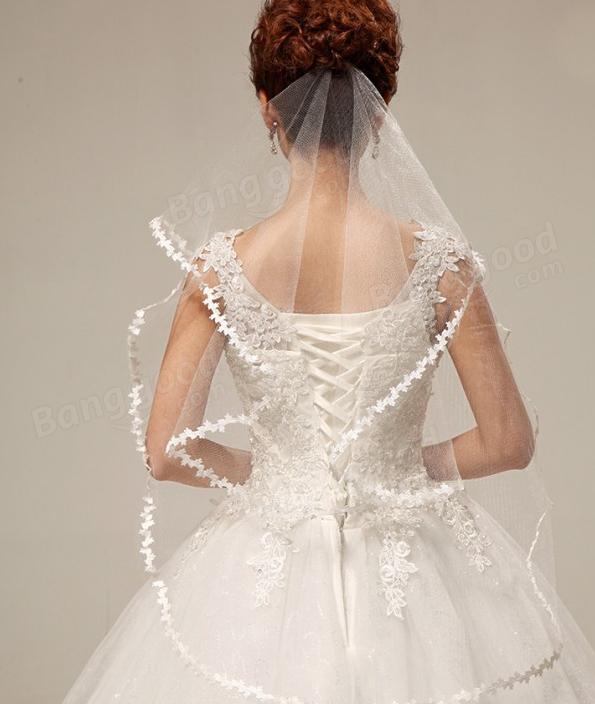 Women Wedding Bride Veil White Red