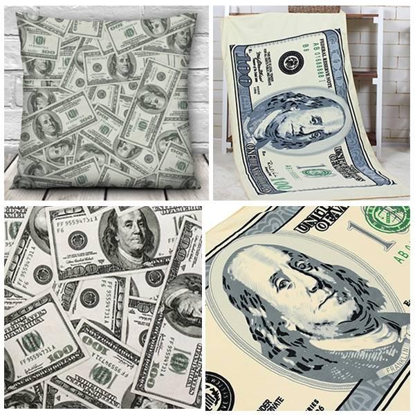 1 Pcs Dollar Pattern 3D Throw Pillow Case And US Dollar Pattern Mic...