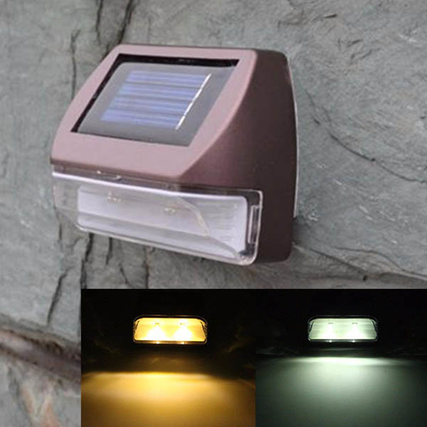 0.2W Wall-mounted Solar Powr 2 LED Fence Light Garden Landscape Wat...