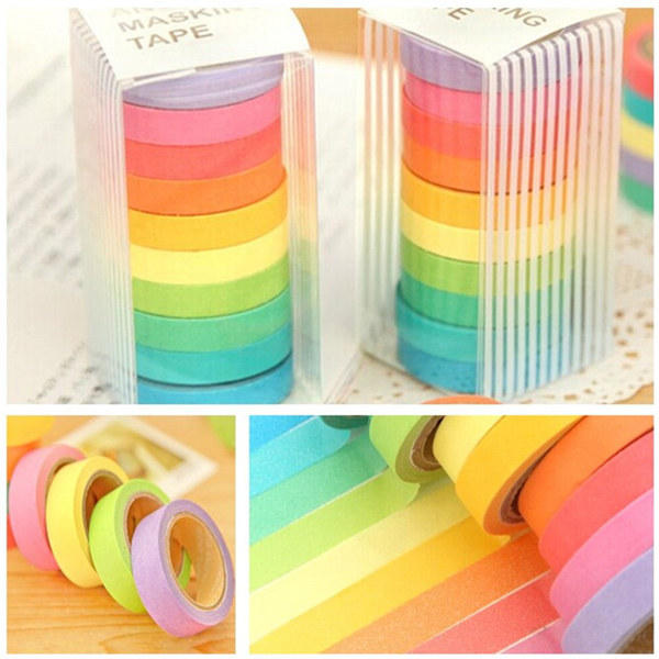 10 Rolls Rainbow Paper Tapes Adhesive