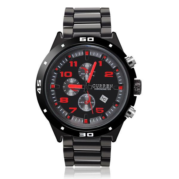 Fashion CURREN Black Waterproof Calendar Men Quartz Wrist Watch