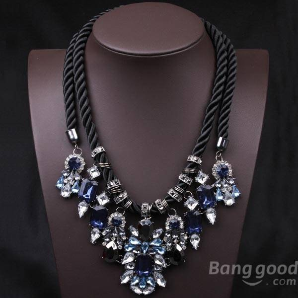 Wholesale Blue Crystal Pendant Chunky Statement Necklace Hemp Rope