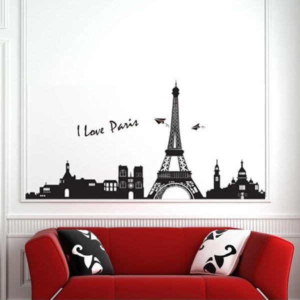 90*60CM Eiffel Tower Paris Wall Sticker Art Mural Wall Removable Wallpaper home decoration removable quote wall art sticker