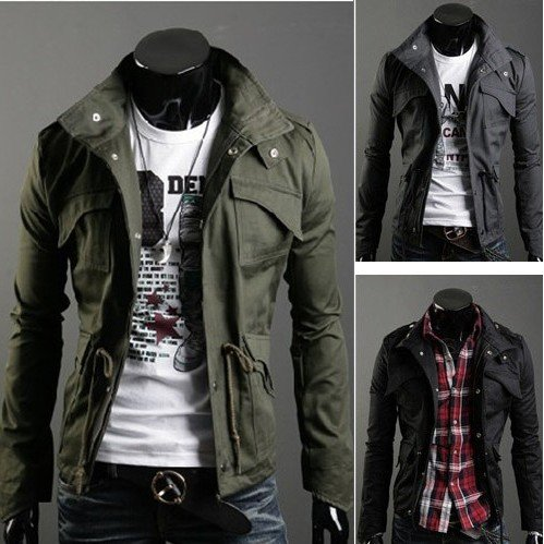 Fashion Multi-pocket Zipper Stand Collar Men's Slim Cotton Jacket
