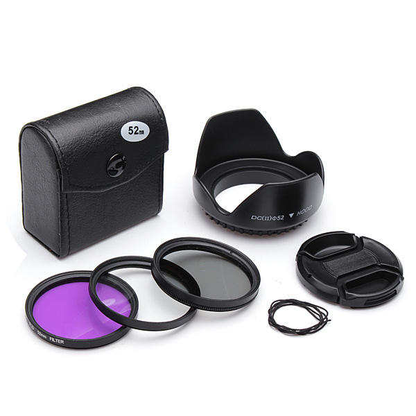 цены на 52mm UV CPL FLD Filter Kit With Petal Flower Lens Hood Center Pinch Lens Cap For Nikon в интернет-магазинах