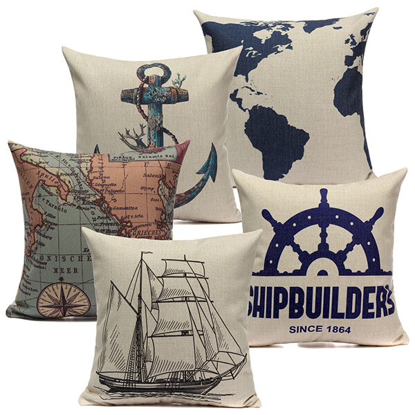 Linen Sailing Yacht Anchor Map Pillow Case Home Decor Cushion Cover lotus printed linen home decor throw pillow cover