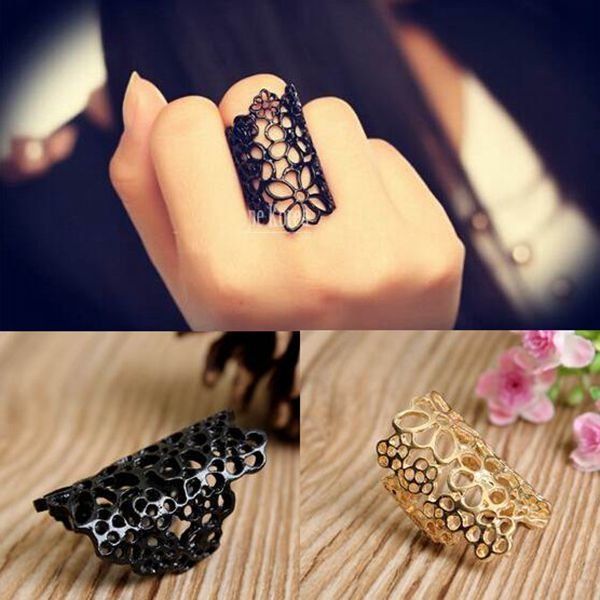 Gold Black Hollow Out Lace Flower Women Open Ring Finger Ring