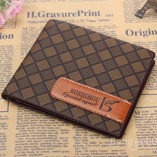 Men Short Leather Wallet Vintage Purse Money Case Card Holder Plaid Pattern simline vintage genuine crazy horse cow leather men men s long hasp wallet wallets purse zipper coin pocket holder with chain