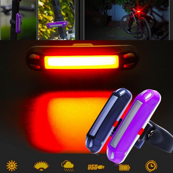 3 Mode USB Rechargeable Front&Rear Bike Bicycle Red Light Waterproof Mounting rear waterproof red