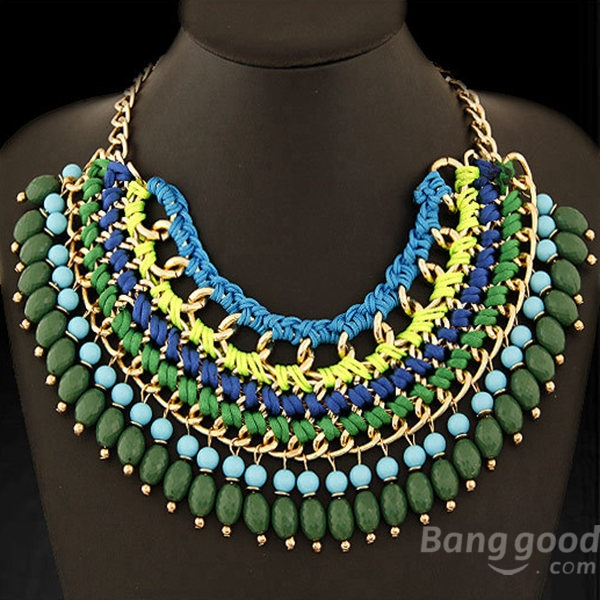 Bohemian Bib Braided Tassel Beaded Statement Choker Necklace cavalli class cavalli class ca078ewhln39