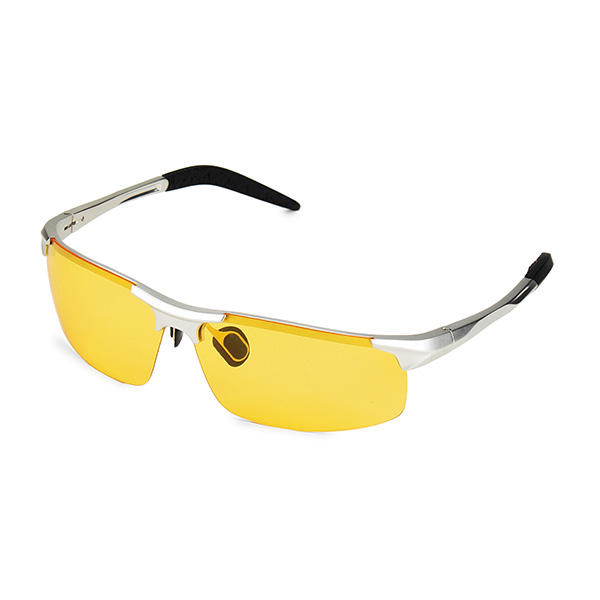UV400 Men Polarized Sunglasses Yellow Lens Night VISION Driving Fishing Cycling glasses oreka 3025 uv400 protection night vision polarized driving glasses silver yellow