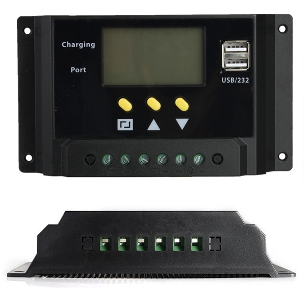 LCD 30A PWM Solar Panel Regulator Charge Controller 12V/24V 360W/720W Dual 36v 20a vs2048bn pwm epever new series solar controller lcd display with temperature sensor and mt50 meter charger regulator