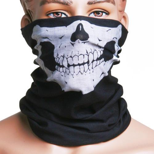 Skull Multi Purpose Head Wear Hat Scarf Face Mask Cap protective outdoor war game military skull half face shield mask black