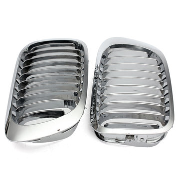 Silver Front Kidney Grille Grills For BMW E46 3 Series 2 Door 99-06