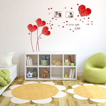 5 Colors Heart Love Wall Sticker Photo Frame Leaves Tree Removable Decal Home Art