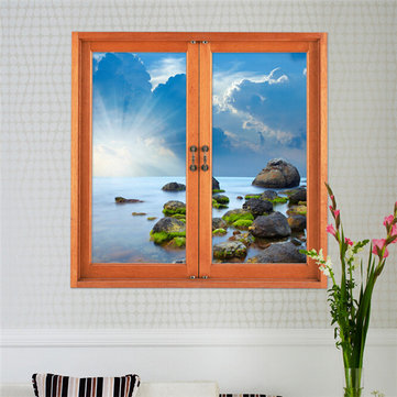 Buy 3D Artificial Window View Wall Decals Removable Seascape Stickers Home Decor Gift