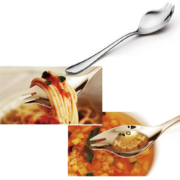 Creative Stainless Steel Spoon Fork Portable Travel Noodles Spoon Fork