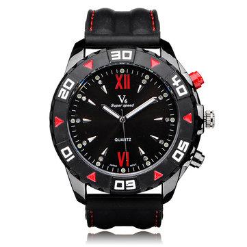 V6 super velocidade v0188 grande número de discagem roman homens borracha relógio de pulso
