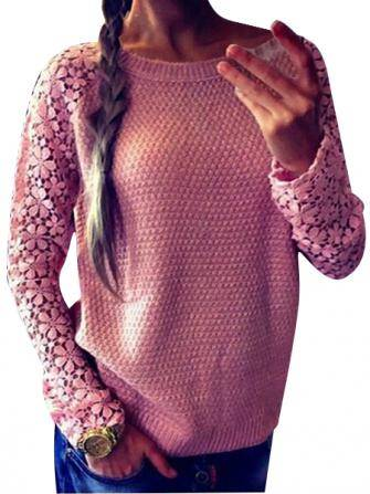 Women Casual Lace Pullover Knitted Long Sleeve Hollow Out Sweater