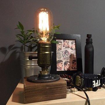 Loft Vintage T45 Edison Bulb Table Lamp Water Pipe Light Home Bar Decor