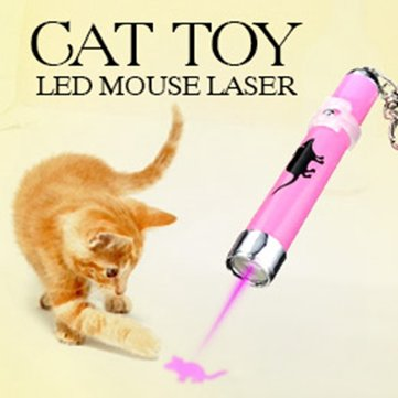 Pet Cat Play Toy LED Laser Pointer Light with Bright Mouse Animation