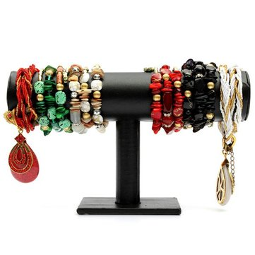 Black PU Leather Bracelet Necklace T-Bar Jewelry Display Stand Holder