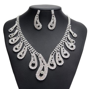 Buy Silver Plated Bridal Rhinestone Necklace Earrings Jewelry Set