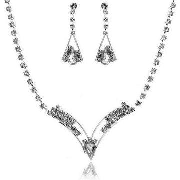 Buy Wedding Bridal Sparkling V Shaped Crystal Rhinestone Necklace Earrings Jewelry Set