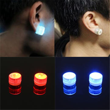 LED Magnetic Flashing Light Up Bling Ear Studs Dance Party Earrings No Piercing