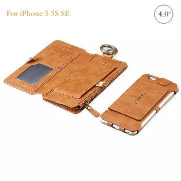 Multi fonction rétro pu portefeuille en cuir zippée poche de cas de couverture de kickstand bascule pour iPhone 5 5s soi