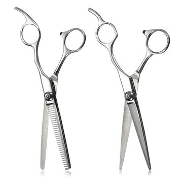 2pcs Professional Flat Dentate Hair Cutting Scissors Stainless Steel Shears Set