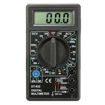 Dt832 multimètre numérique lcd ohm tension ampèremètre buzzer fonction avec sonde de test