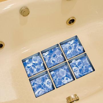 PAG 6шт узор 13x13cm льда 3d анти скольжения водонепроницаемый ванной наклейки